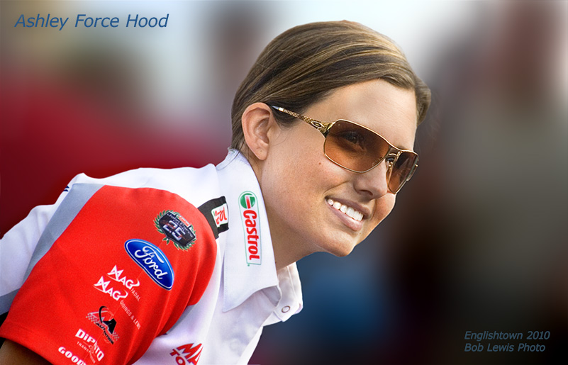 Bob Lewis Photo Ashley Force with oakley glasses