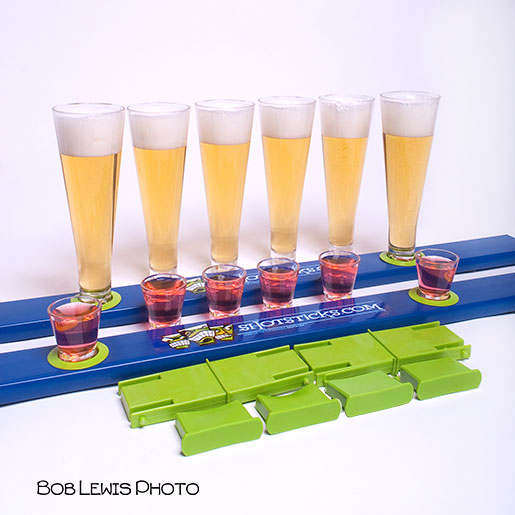shotsticks drinking game product photography liquid photography